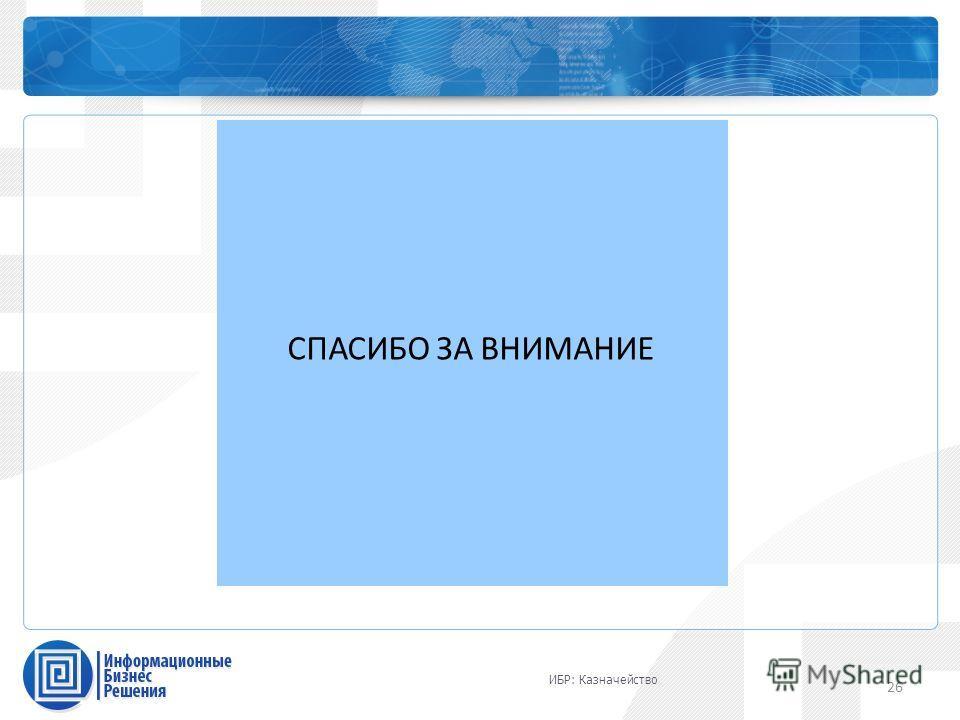 Каталог профессиональных сервисов СПАСИБО ЗА ВНИМАНИЕ 26 ИБР: Казначейство