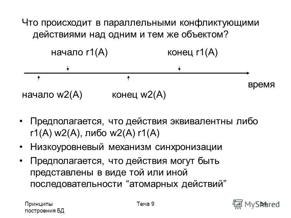 Принципы построения БД Тема 914 Предполагается, что действия эквивалентны либо r1(A) w2(A), либо w2(A) r1(A) Низкоуровневый механизм синхронизации Предполагается, что действия могут быть представлены в виде той или иной последовательности атомарных д