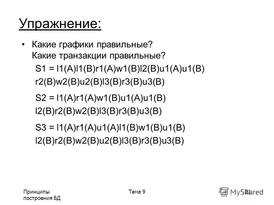 Принципы построения БД Тема 921 Какие графики правильные? Какие транзакции правильные? S1 = l1(A)l1(B)r1(A)w1(B)l2(B)u1(A)u1(B) r2(B)w2(B)u2(B)l3(B)r3(B)u3(B) S2 = l1(A)r1(A)w1(B)u1(A)u1(B) l2(B)r2(B)w2(B)l3(B)r3(B)u3(B) S3 = l1(A)r1(A)u1(A)l1(B)w1(B