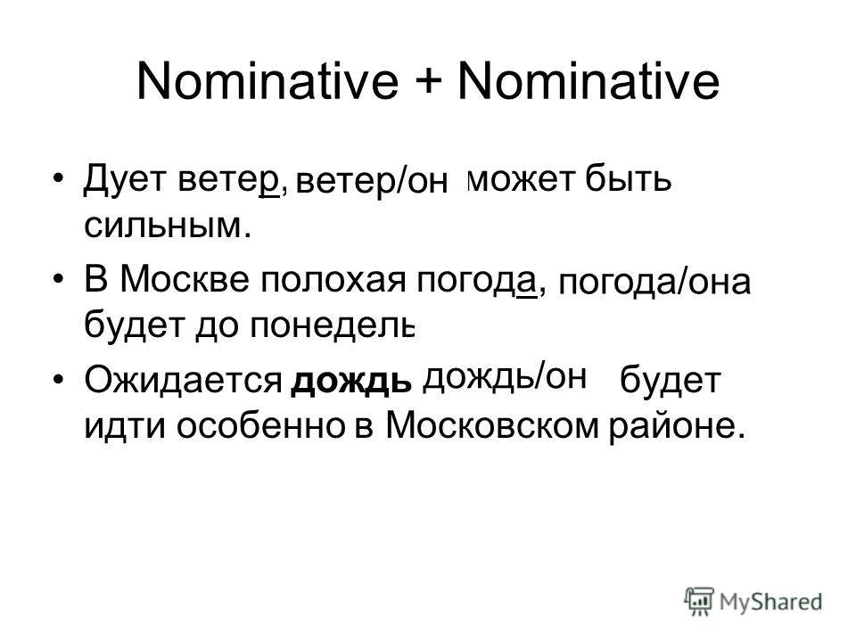 Nominative + Nominative Дует ветер, который может быть сильным. В Москве полохая погода, которая будет до понедельника. Ожидается дождь, который будет идти особенно в Московском районе. ветер/он погода/она дождь/он