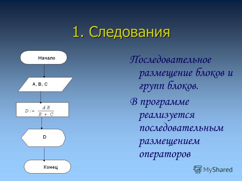 1. Следования Последовательное размещение блоков и групп блоков. В программе реализуется последовательным размещением операторов