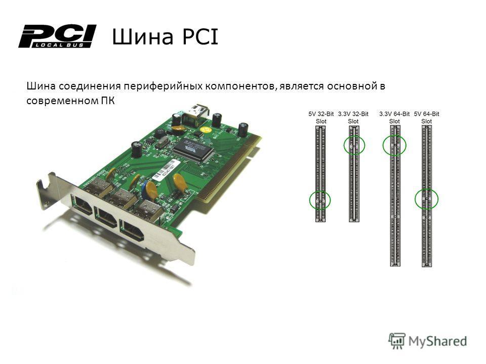 Шина PCI Шина соединения периферийных компонентов, является основной в современном ПК