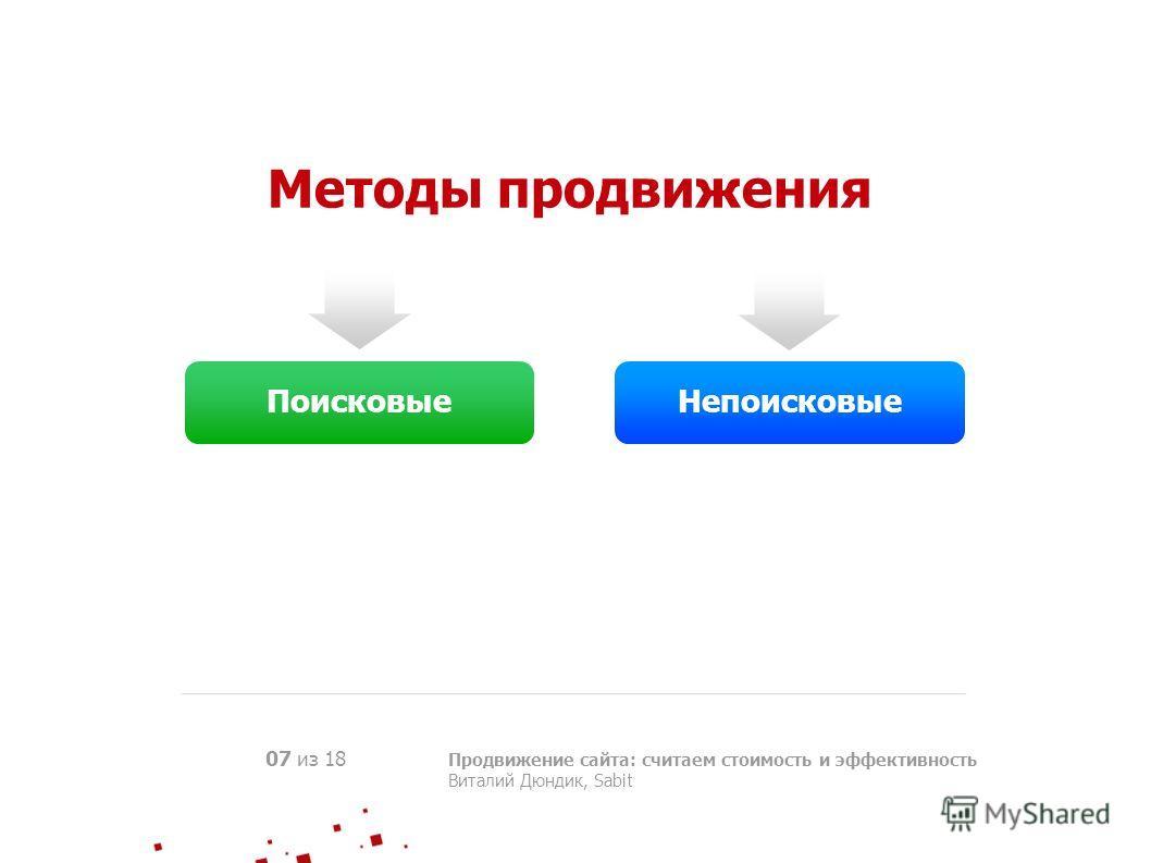 Методы продвижения Продвижение сайта: считаем стоимость и эффективность Виталий Дюндик, Sabit 07 из 18 ПоисковыеНепоисковые