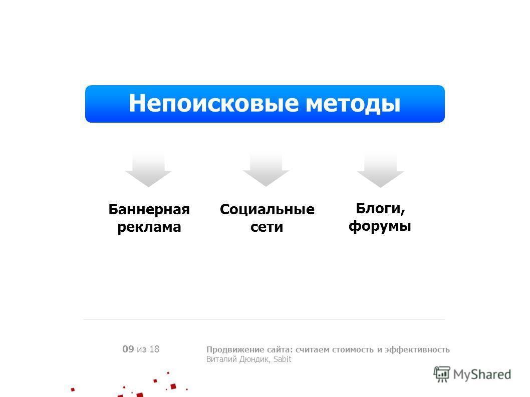 Продвижение сайта: считаем стоимость и эффективность Виталий Дюндик, Sabit 09 из 18 Непоисковые методы Баннерная реклама Социальные сети Блоги, форумы
