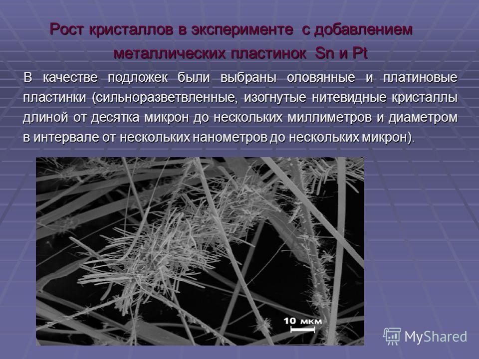 Рост кристаллов в эксперименте с добавлением металлических пластинок Sn и Pt В качестве подложек были выбраны оловянные и платиновые пластинки (сильноразветвленные, изогнутые нитевидные кристаллы длиной от десятка микрон до нескольких миллиметров и д