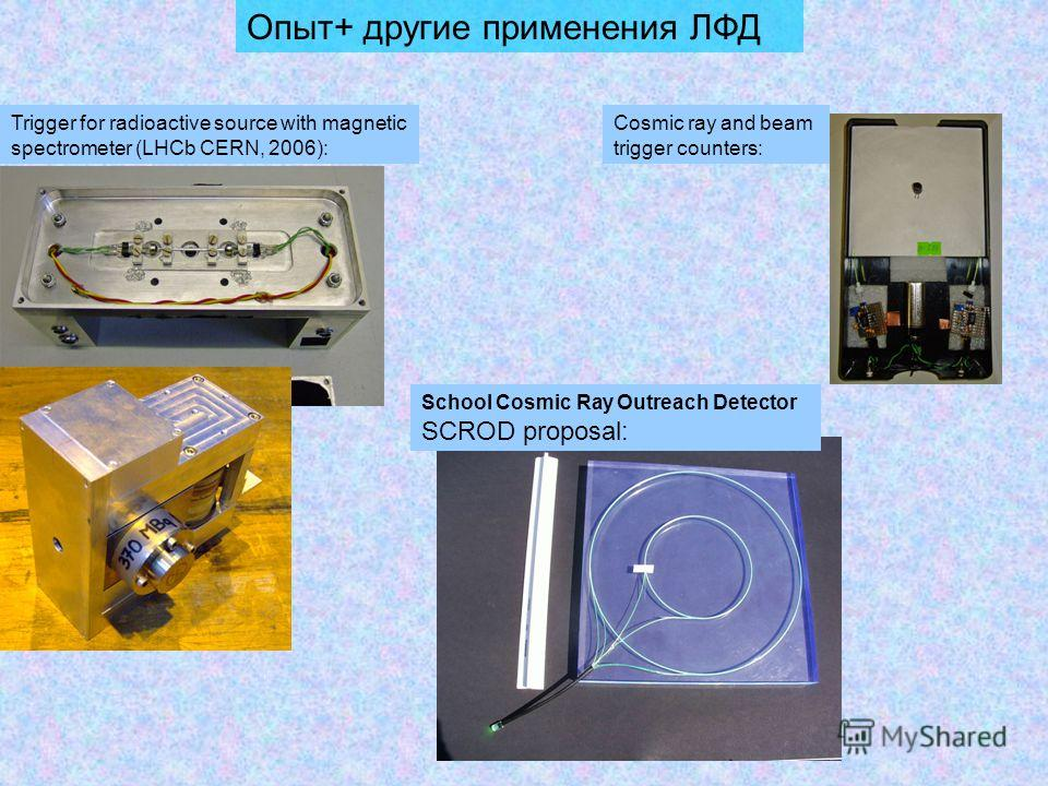 Опыт+ другие применения ЛФД School Cosmic Ray Outreach Detector SCROD proposal: Trigger for radioactive source with magnetic spectrometer (LHCb CERN, 2006): Cosmic ray and beam trigger counters: