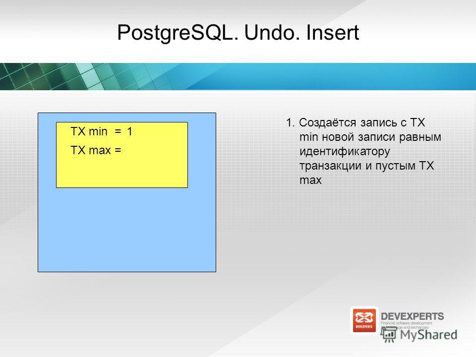 TX max = TX min =1 PostgreSQL. Undo. Insert 1. Создаётся запись с TX min новой записи равным идентификатору транзакции и пустым TX max