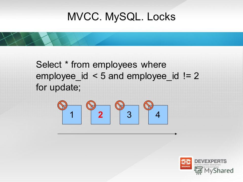 MVCC. MySQL. Locks Select * from employees where employee_id < 5 and employee_id != 2 for update; 12134