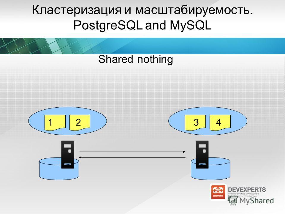 Кластеризация и масштабируемость. PostgreSQL and MySQL Shared nothing 1234