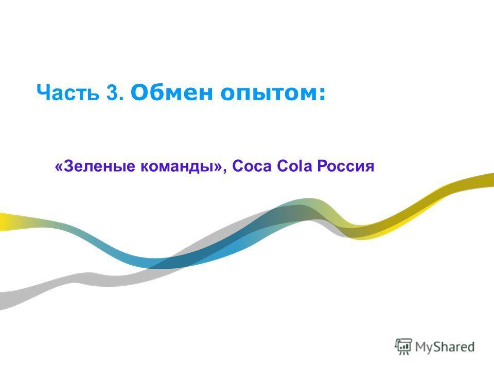 Часть 3. Обмен опытом: «Зеленые команды», Coca Cola Россия