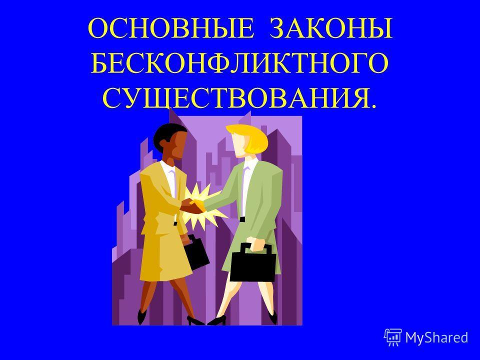 ОСНОВНЫЕ ЗАКОНЫ БЕСКОНФЛИКТНОГО СУЩЕСТВОВАНИЯ.