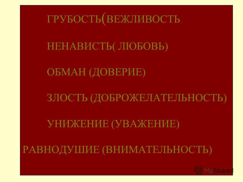 ГРУБОСТЬ ( ВЕЖЛИВОСТЬ НЕНАВИСТЬ( ЛЮБОВЬ) ОБМАН (ДОВЕРИЕ) ЗЛОСТЬ (ДОБРОЖЕЛАТЕЛЬНОСТЬ) УНИЖЕНИЕ (УВАЖЕНИЕ) РАВНОДУШИЕ (ВНИМАТЕЛЬНОСТЬ)