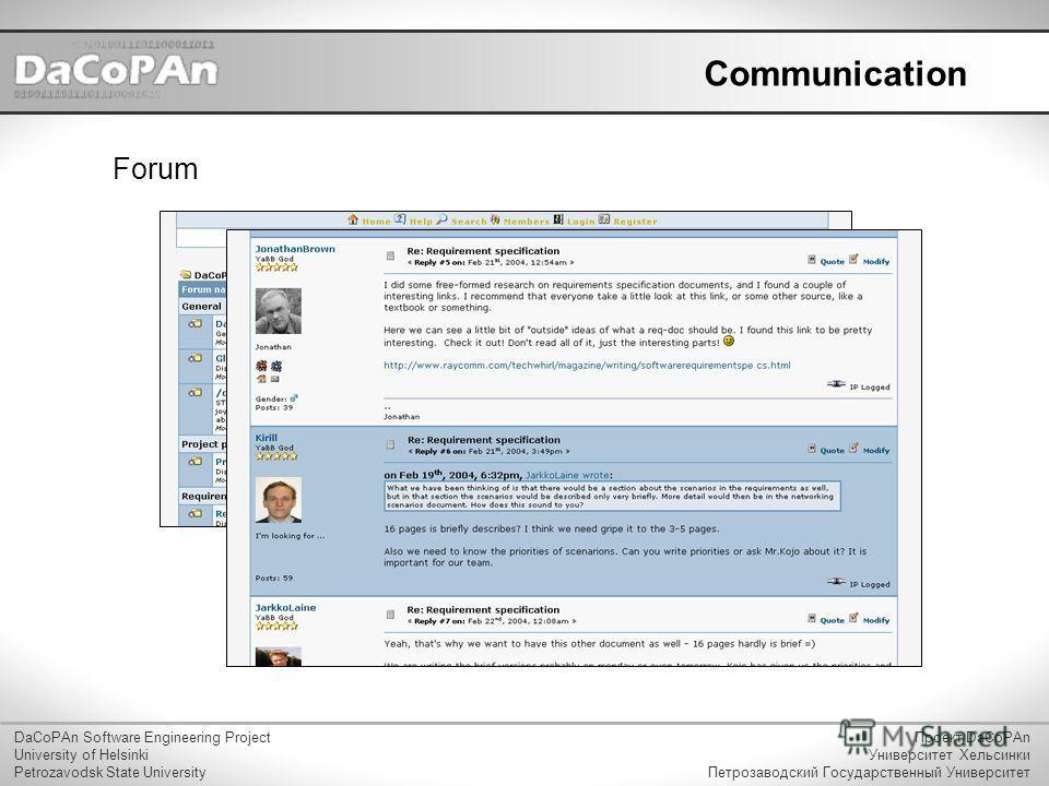 Communication Forum DaCoPAn Software Engineering Project University of Helsinki Petrozavodsk State University Проект DaCoPAn Университет Хельсинки Петрозаводский Государственный Университет