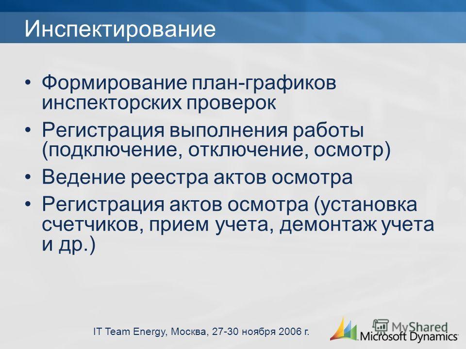 IT Team Energy, Москва, 27-30 ноября 2006 г. Инспектирование Формирование план-графиков инспекторских проверок Регистрация выполнения работы (подключение, отключение, осмотр) Ведение реестра актов осмотра Регистрация актов осмотра (установка счетчико