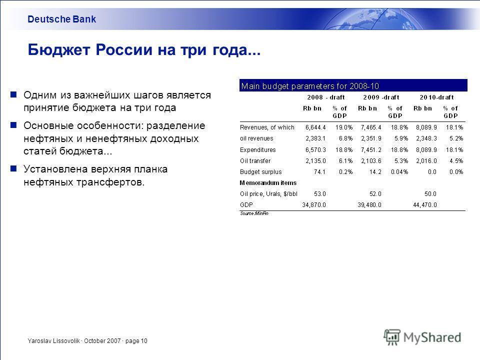 Yaroslav Lissovolik · October 2007 · page 10 Бюджет России на три года... Одним из важнейших шагов является принятие бюджета на три года Основные особенности: разделение нефтяных и ненефтяных доходных статей бюджета... Установлена верхняя планка нефт