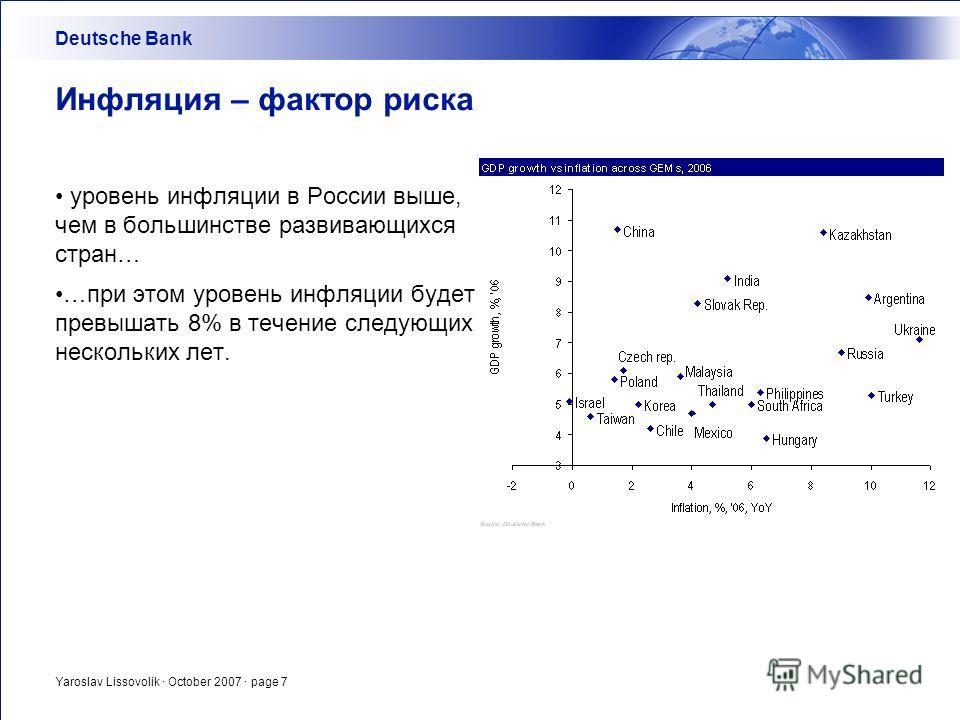 Yaroslav Lissovolik · October 2007 · page 7 Инфляция – фактор риска уровень инфляции в России выше, чем в большинстве развивающихся стран… …при этом уровень инфляции будет превышать 8% в течение следующих нескольких лет. Deutsche Bank