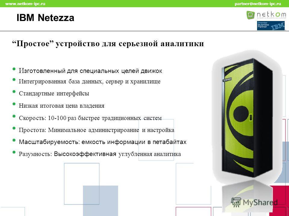 Click to edit Master title style www.netkom-ipc.ru partner@netkom-ipc.ru IBM Netezza Простое устройство для серьезной аналитики Интегрированная база данных, сервер и хранилище Стандартные интерфейсы Низкая итоговая цена владения И зготовленный для сп