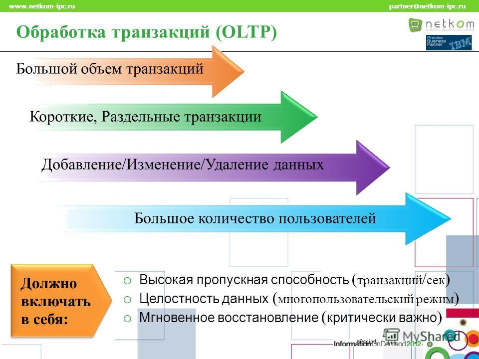Click to edit Master title style www.netkom-ipc.ru partner@netkom-ipc.ru Обработка транзакций (OLTP) Большой объем транзакций Короткие, Раздельные транзакции Добавление/Изменение/Удаление данных Большое количество пользователей Должно включать в себя