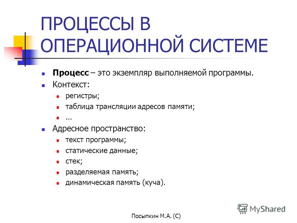 Посыпкин М.А. (С) ПРОЦЕССЫ В ОПЕРАЦИОННОЙ СИСТЕМЕ Процесс – это экземпляр выполняемой программы. Контекст: регистры; таблица трансляции адресов памяти;... Адресное пространство: текст программы; статические данные; стек; разделяемая память; динамичес