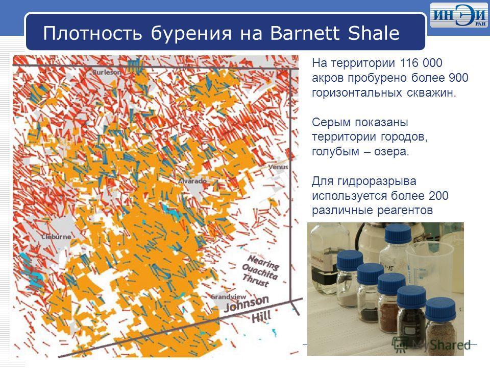 LOGO Плотность бурения на Barnett Shale На территории 116 000 акров пробурено более 900 горизонтальных скважин. Серым показаны территории городов, голубым – озера. Для гидроразрыва используется более 200 различные реагентов