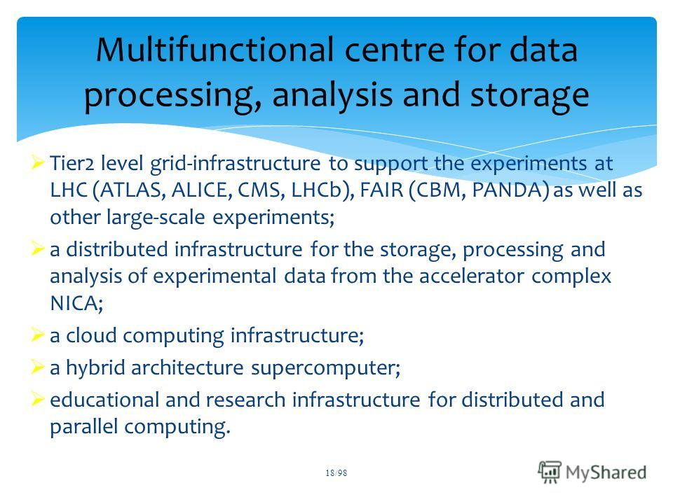 Tier2 level grid-infrastructure to support the experiments at LHC (ATLAS, ALICE, CMS, LHCb), FAIR (CBM, PANDA) as well as other large-scale experiments; a distributed infrastructure for the storage, processing and analysis of experimental data from t