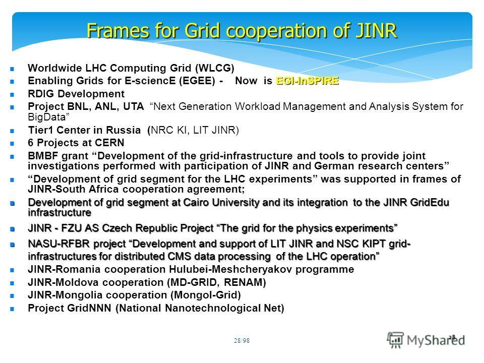 28/98 Frames for Grid cooperation of JINR 28 Worldwide LHC Computing Grid (WLCG) EGI-InSPIRE Enabling Grids for E-sciencE (EGEE) - Now is EGI-InSPIRE RDIG Development Project BNL, ANL, UTA Next Generation Workload Management and Analysis System for B