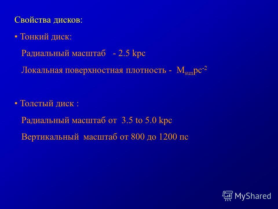Свойства дисков: Тонкий диск: Радиальный масштаб - 2.5 kpc Локальная поверхностная плотность - M sun pc -2 Толстый диск : Радиальный масштаб от 3.5 to 5.0 kpc Вертикальный масштаб от 800 до 1200 пс