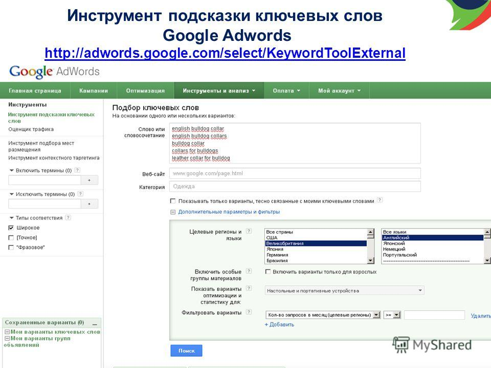 Инструмент подсказки ключевых слов Google Adwords http://adwords.google.com/select/KeywordToolExternal http://adwords.google.com/select/KeywordToolExternal