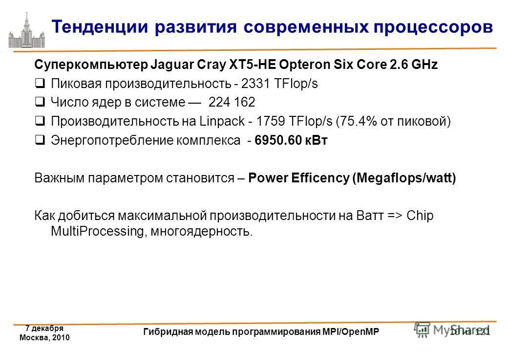 7 декабря Москва, 2010 Гибридная модель программирования MPI/OpenMP 10 из 121 Суперкомпьютер Jaguar Cray XT5-HE Opteron Six Core 2.6 GHz Пиковая производительность - 2331 TFlop/s Число ядер в системе 224 162 Производительность на Linpack - 1759 TFlop
