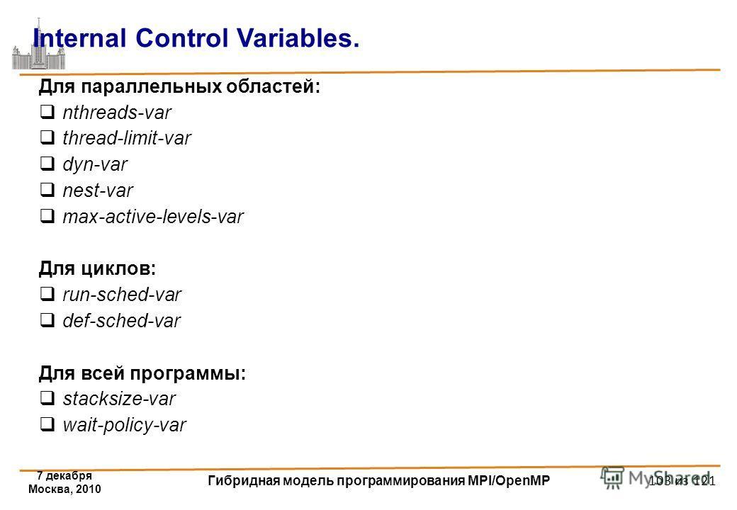 7 декабря Москва, 2010 Гибридная модель программирования MPI/OpenMP 103 из 121 Для параллельных областей: nthreads-var thread-limit-var dyn-var nest-var max-active-levels-var Для циклов: run-sched-var def-sched-var Для всей программы: stacksize-var w