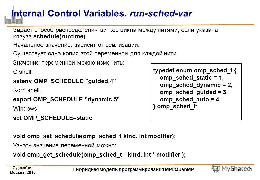 7 декабря Москва, 2010 Гибридная модель программирования MPI/OpenMP 105 из 121 Internal Control Variables. run-sched-var Задает способ распределения витков цикла между нитями, если указана клауза schedule(runtime). Начальное значение: зависит от реал