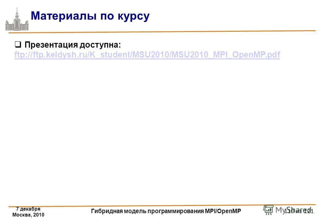 7 декабря Москва, 2010 Гибридная модель программирования MPI/OpenMP 110 из 121 Материалы по курсу Презентация доступна: ftp://ftp.keldysh.ru/K_student/MSU2010/MSU2010_MPI_OpenMP.pdf