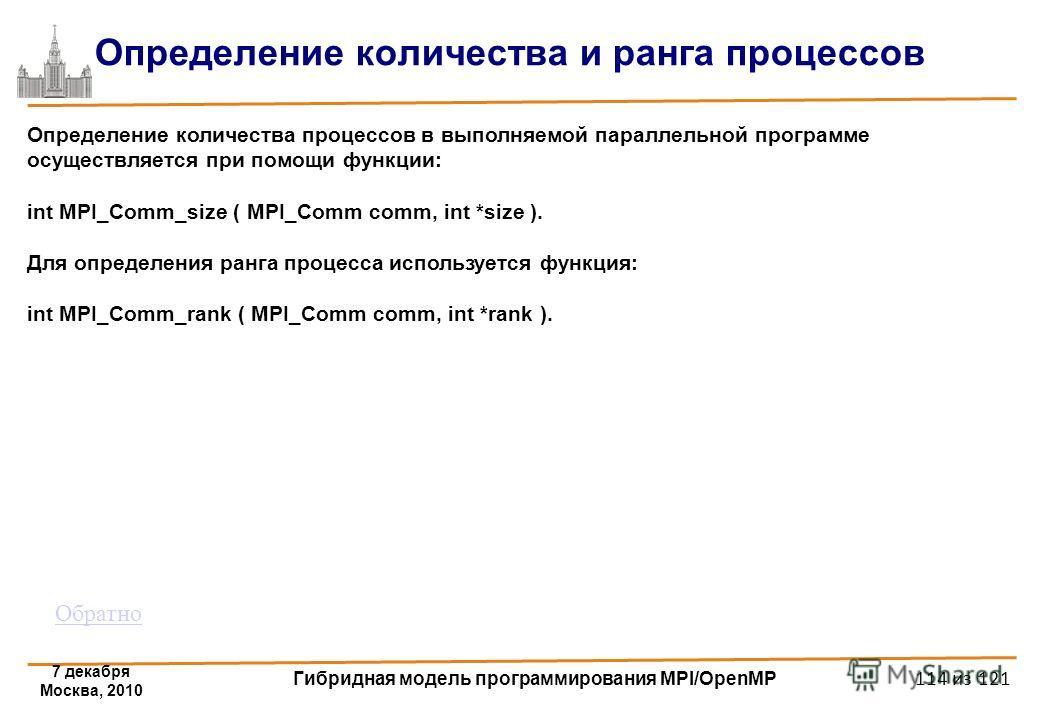 7 декабря Москва, 2010 Гибридная модель программирования MPI/OpenMP 114 из 121 Определение количества и ранга процессов Определение количества процессов в выполняемой параллельной программе осуществляется при помощи функции: int MPI_Comm_size ( MPI_C
