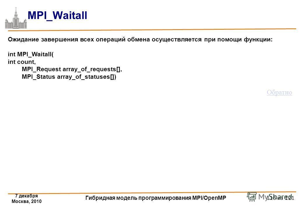 7 декабря Москва, 2010 Гибридная модель программирования MPI/OpenMP 116 из 121 MPI_Waitall Ожидание завершения всех операций обмена осуществляется при помощи функции: int MPI_Waitall( int count, MPI_Request array_of_requests[], MPI_Status array_of_st