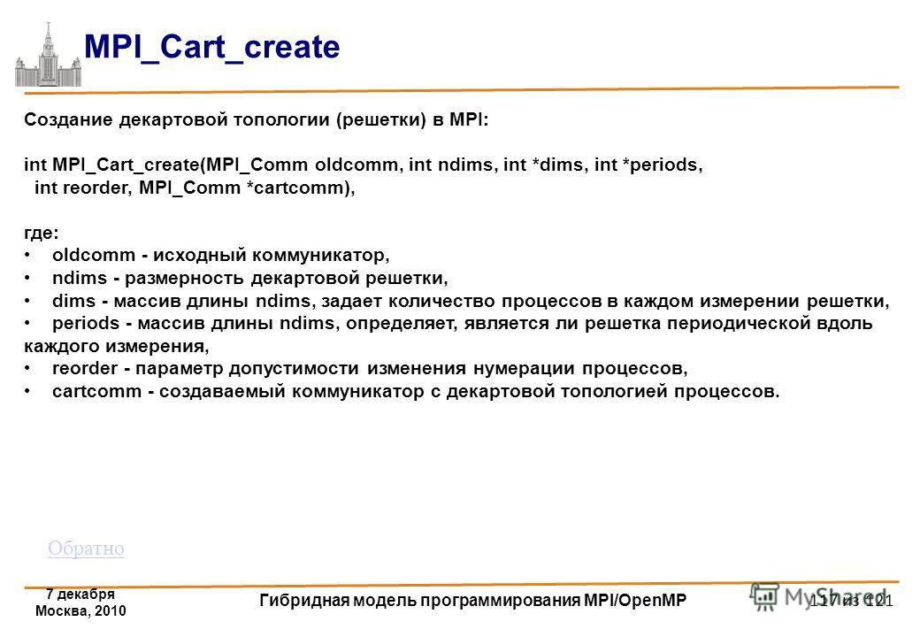 7 декабря Москва, 2010 Гибридная модель программирования MPI/OpenMP 117 из 121 MPI_Cart_create Создание декартовой топологии (решетки) в MPI: int MPI_Cart_create(MPI_Comm oldcomm, int ndims, int *dims, int *periods, int reorder, MPI_Comm *cartcomm),