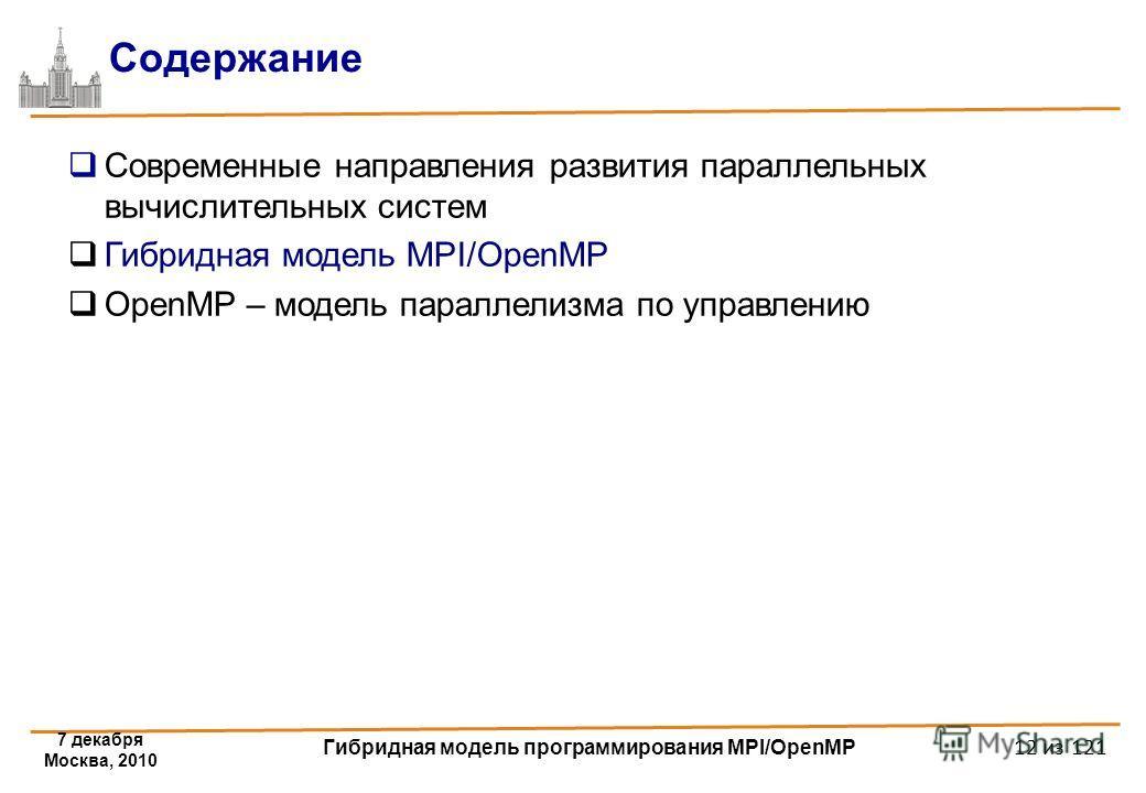 7 декабря Москва, 2010 Гибридная модель программирования MPI/OpenMP 12 из 121 Содержание Современные направления развития параллельных вычислительных систем Гибридная модель MPI/OpenMP OpenMP – модель параллелизма по управлению