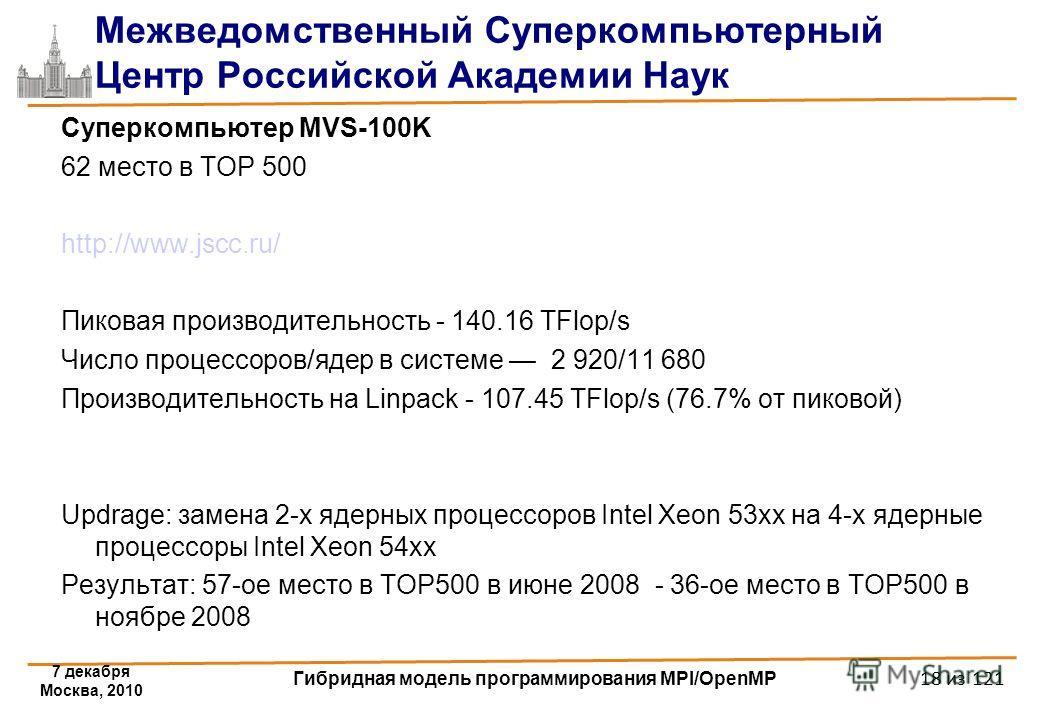7 декабря Москва, 2010 Гибридная модель программирования MPI/OpenMP 18 из 121 Межведомственный Суперкомпьютерный Центр Российской Академии Наук Суперкомпьютер MVS-100K 62 место в TOP 500 http://www.jscc.ru/ Пиковая производительность - 140.16 TFlop/s