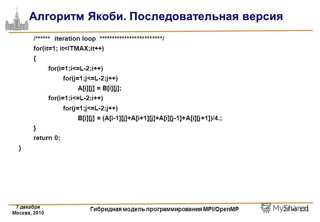 7 декабря Москва, 2010 Гибридная модель программирования MPI/OpenMP 23 из 121 Алгоритм Якоби. Последовательная версия /****** iteration loop *************************/ for(it=1; it