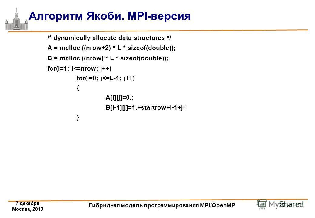7 декабря Москва, 2010 Гибридная модель программирования MPI/OpenMP 27 из 121 Алгоритм Якоби. MPI-версия /* dynamically allocate data structures */ A = malloc ((nrow+2) * L * sizeof(double)); B = malloc ((nrow) * L * sizeof(double)); for(i=1; i