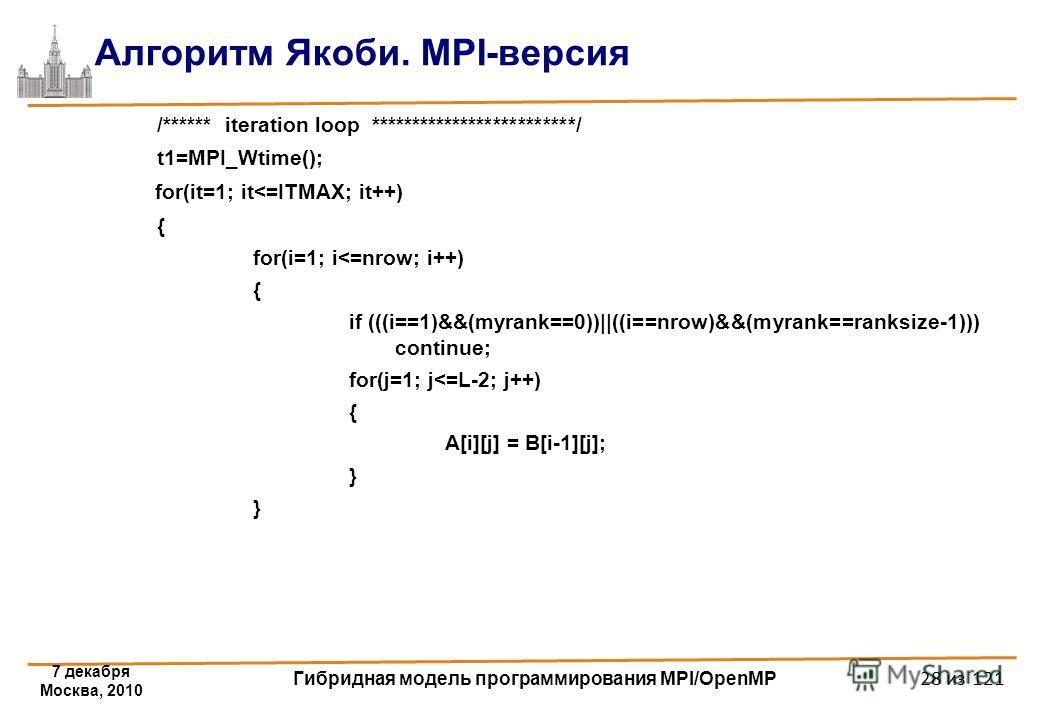 7 декабря Москва, 2010 Гибридная модель программирования MPI/OpenMP 28 из 121 Алгоритм Якоби. MPI-версия /****** iteration loop *************************/ t1=MPI_Wtime(); for(it=1; it