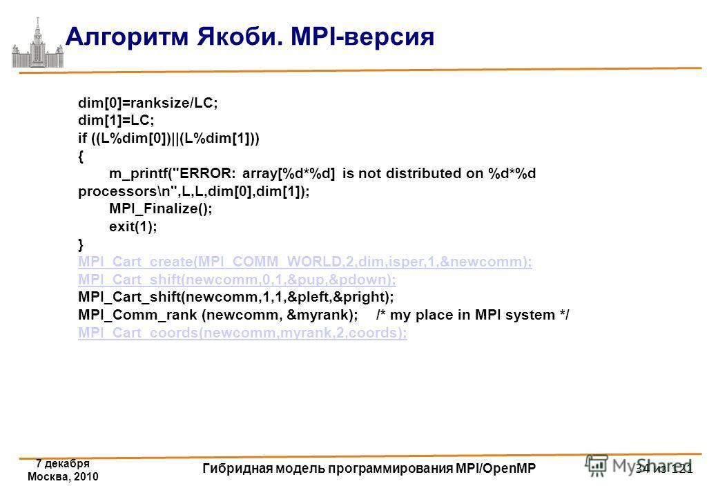7 декабря Москва, 2010 Гибридная модель программирования MPI/OpenMP 34 из 121 Алгоритм Якоби. MPI-версия dim[0]=ranksize/LC; dim[1]=LC; if ((L%dim[0])||(L%dim[1])) { m_printf(