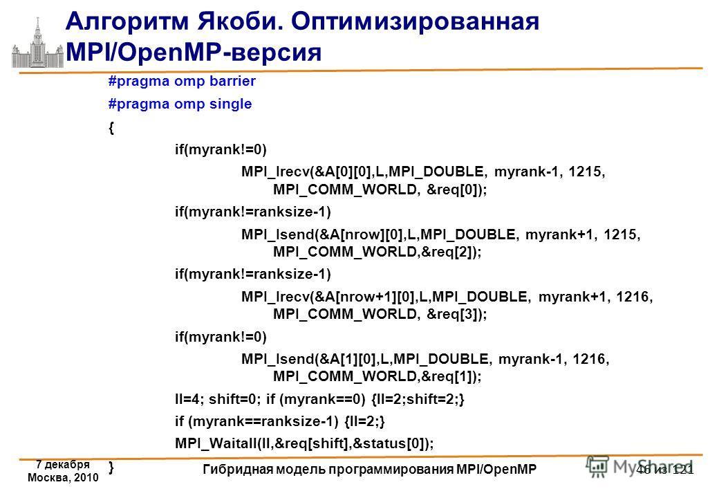 7 декабря Москва, 2010 Гибридная модель программирования MPI/OpenMP 46 из 121 Алгоритм Якоби. Оптимизированная MPI/OpenMP-версия #pragma omp barrier #pragma omp single { if(myrank!=0) MPI_Irecv(&A[0][0],L,MPI_DOUBLE, myrank-1, 1215, MPI_COMM_WORLD, &