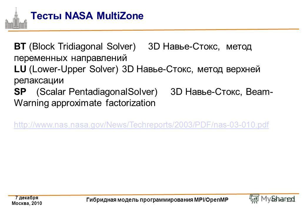 7 декабря Москва, 2010 Гибридная модель программирования MPI/OpenMP 48 из 121 Тесты NASA MultiZone BT (Block Tridiagonal Solver)3D Навье-Стокс, метод переменных направлений LU (Lower-Upper Solver) 3D Навье-Стокс, метод верхней релаксации SP(Scalar Pe