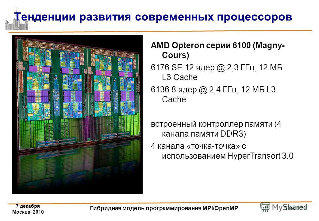 AMD Opteron серии 6100 (Magny- Cours) 6176 SE 12 ядер @ 2,3 ГГц, 12 МБ L3 Cache 6136 8 ядер @ 2,4 ГГц, 12 МБ L3 Cache встроенный контроллер памяти (4 канала памяти DDR3) 4 канала «точка-точка» с использованием HyperTransort 3.0 Тенденции развития сов