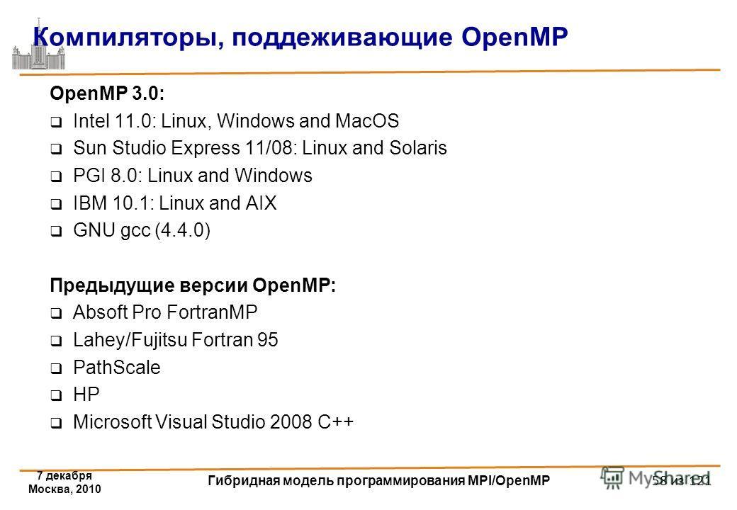 7 декабря Москва, 2010 Гибридная модель программирования MPI/OpenMP 58 из 121 Компиляторы, поддеживающие OpenMP OpenMP 3.0: Intel 11.0: Linux, Windows and MacOS Sun Studio Express 11/08: Linux and Solaris PGI 8.0: Linux and Windows IBM 10.1: Linux an