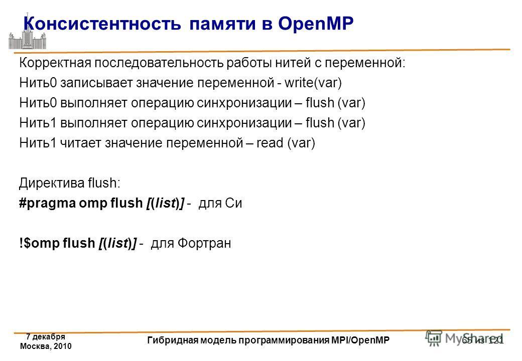 7 декабря Москва, 2010 Гибридная модель программирования MPI/OpenMP 65 из 121 Консистентность памяти в OpenMP Корректная последовательность работы нитей с переменной: Нить0 записывает значение переменной - write(var) Нить0 выполняет операцию синхрони