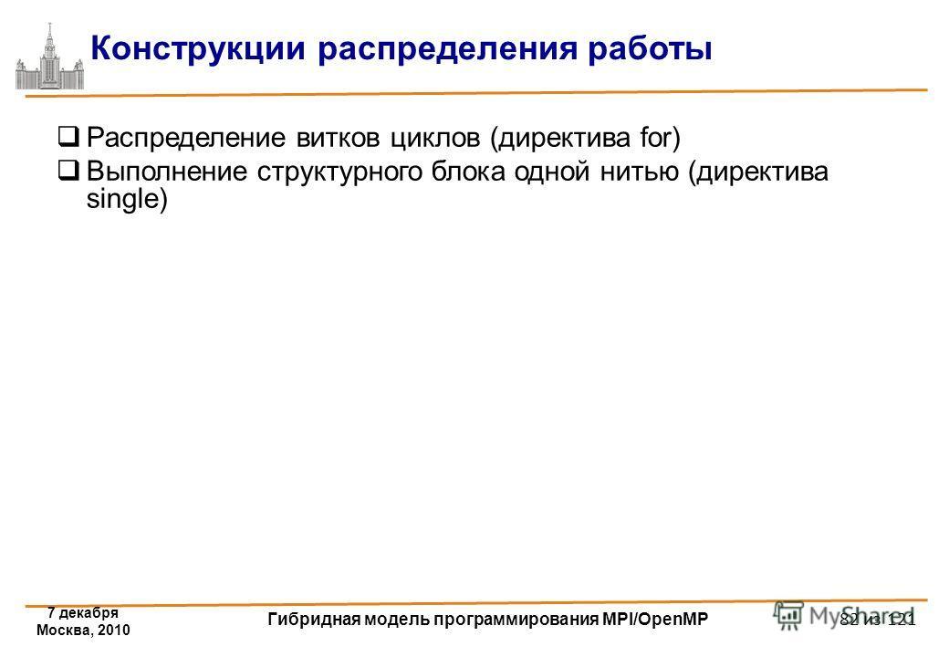 7 декабря Москва, 2010 Гибридная модель программирования MPI/OpenMP 82 из 121 Конструкции распределения работы Распределение витков циклов (директива for) Выполнение структурного блока одной нитью (директива single)