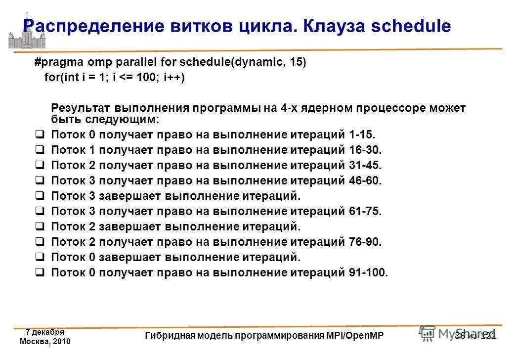 7 декабря Москва, 2010 Гибридная модель программирования MPI/OpenMP 88 из 121 Распределение витков цикла. Клауза schedule #pragma omp parallel for schedule(dynamic, 15) for(int i = 1; i