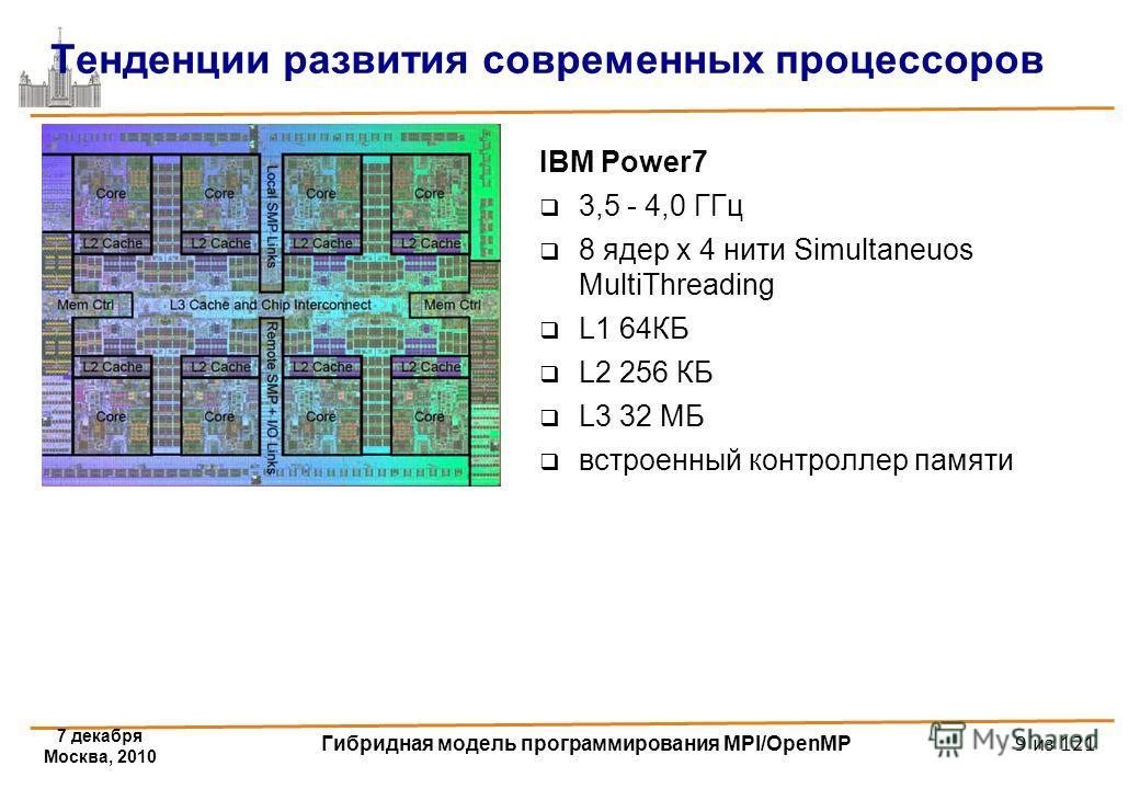 IBM Power7 3,5 - 4,0 ГГц 8 ядер x 4 нити Simultaneuos MultiThreading L1 64КБ L2 256 КБ L3 32 МБ встроенный контроллер памяти Тенденции развития современных процессоров 7 декабря Москва, 2010 Гибридная модель программирования MPI/OpenMP 9 из 121