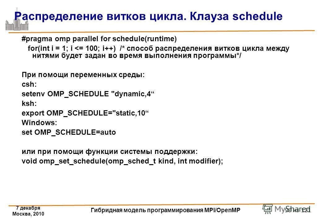 7 декабря Москва, 2010 Гибридная модель программирования MPI/OpenMP 90 из 121 Распределение витков цикла. Клауза schedule #pragma omp parallel for schedule(runtime) for(int i = 1; i